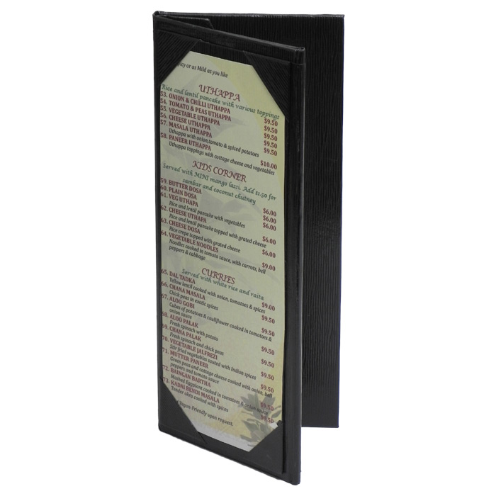 menu cover trifold table tent 113