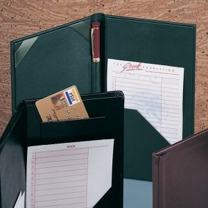 Leatherette Check Presenters with Pocket and Ribbon Corners - Green 32E