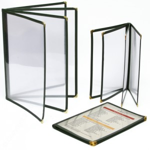 Cafe Menu Covers-Book Style Four Panel-5 1/2 × 8 1/2