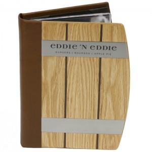 Eddie 'N Eddie Wood Barrel Menu Covers