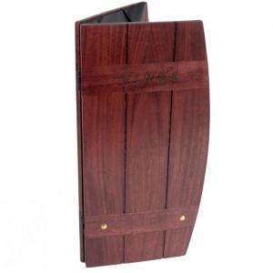 Custom wood barrel menu covers