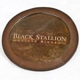 Black Stallion Copper Leather Coaster
