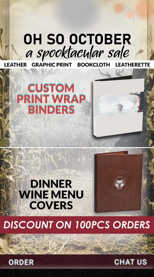 188 Oh So October Print Wrap Binders or Wine Menu Books Sale
